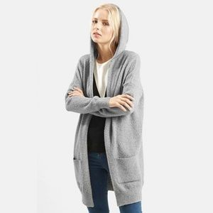 Topshop gray hooded cardigan sweater